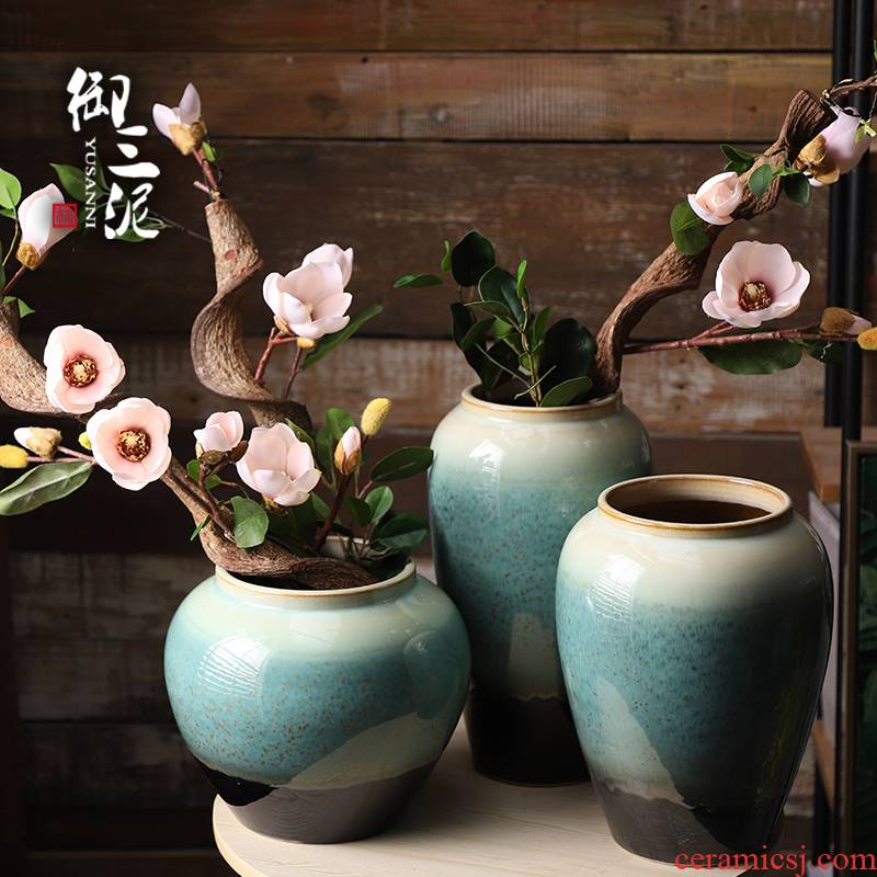 I and contracted American Chinese ceramic vase household simulation flower arranging furnishing articles sitting room adornment dried flowers set