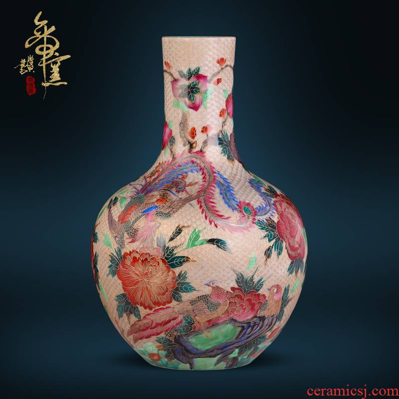 Jingdezhen ceramics antique hand - made thread colored enamel vase Chinese style living room TV cabinet porch is decorated furnishing articles