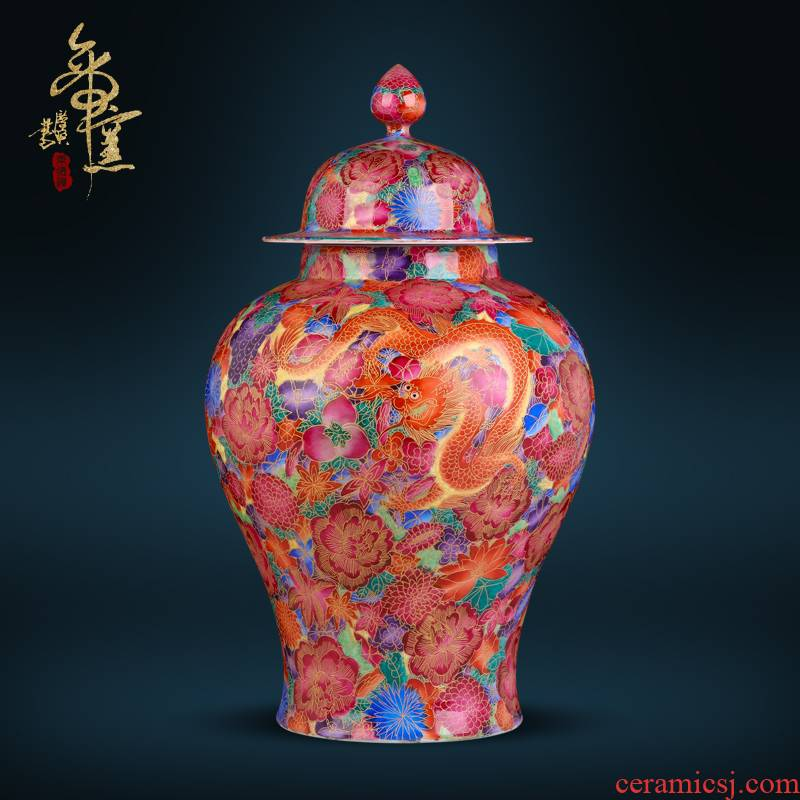 Jingdezhen ceramics longfeng general antique hand - made wire inlay enamel pot sitting room porch Chinese TV ark, furnishing articles