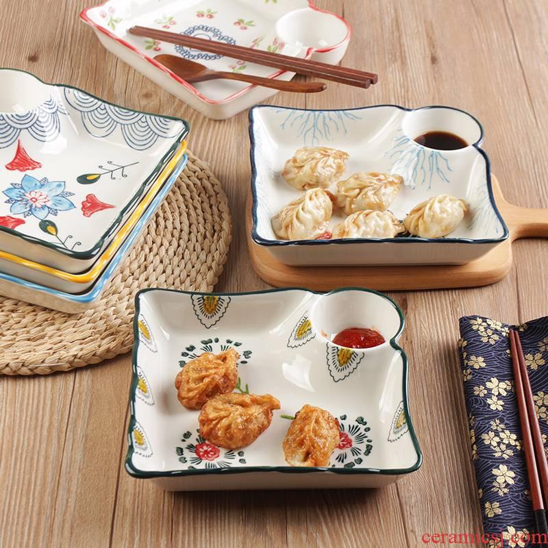 Breakfast dumplings dribbling vinegar dish creative ceramic plates separated food dish household food dishes Japanese - style tableware square plate