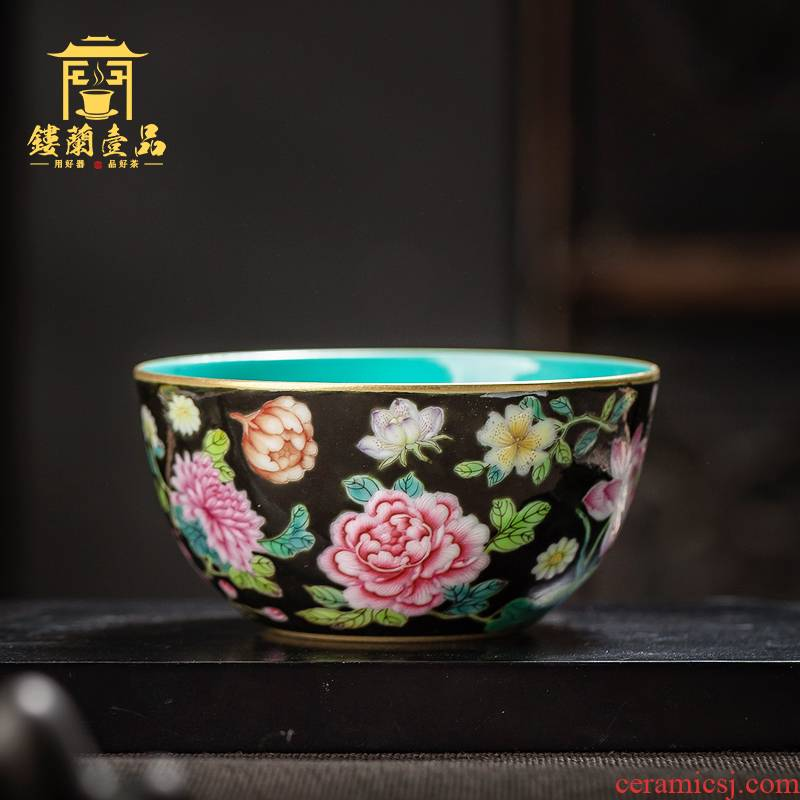 Jingdezhen ceramic all hand black enamel flowers masters cup large kung fu tea tea bowl single cups of tea cups