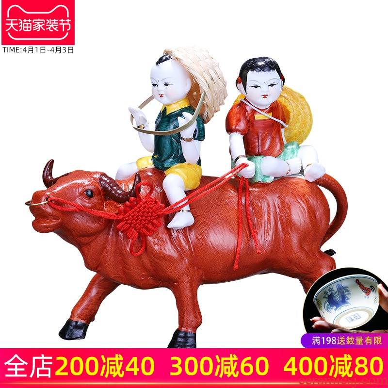 Household act the role ofing is tasted, the sitting room porch decoration lucky boy ride to feng shui evil spirit furnishing articles ceramic arts and crafts to ward off bad luck
