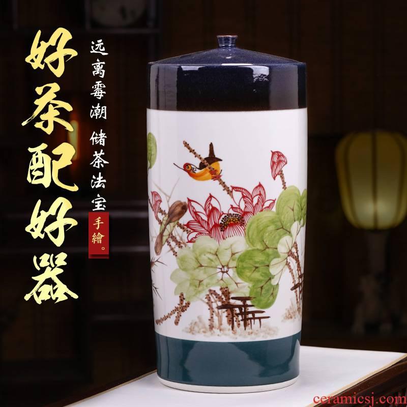 Jingdezhen ceramics large tea pot tea cake wake receives heavy large barrel household with cover storage tank
