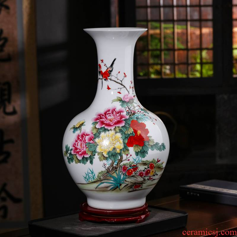 Jingdezhen ceramics powder peony vases, flower arrangement of Chinese style household furnishing articles, the sitting room porch ark, decorative arts and crafts