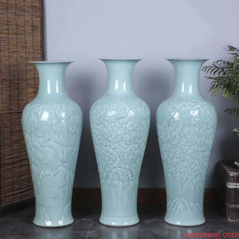 Single jingdezhen ceramics glaze of large celadon vase home sitting room Jane beauty adornment office furnishing articles