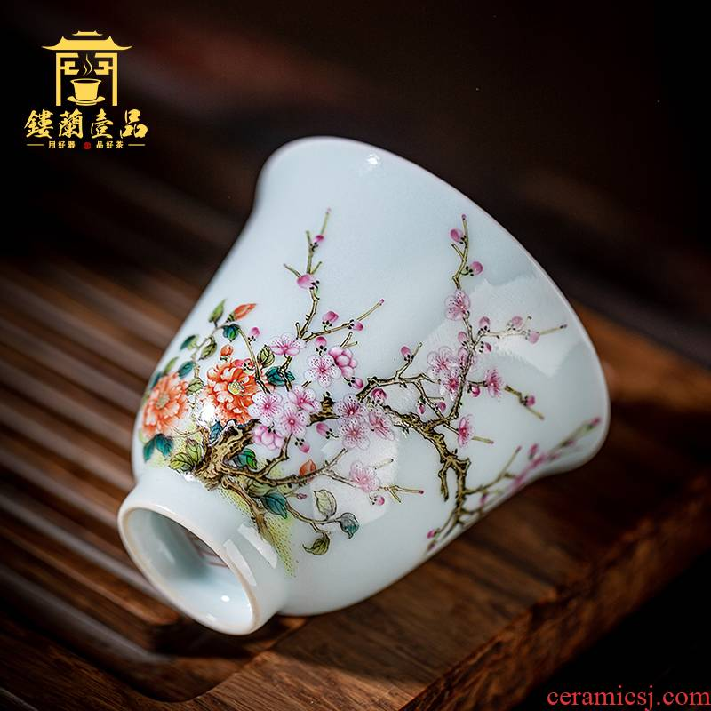 Jingdezhen ceramic all hand - made pastel name plum the master cup sample tea cup kung fu tea set single cup of tea cups