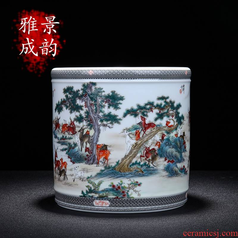 Jingdezhen ceramic I contracted the deer pen container large household study desk China ornament