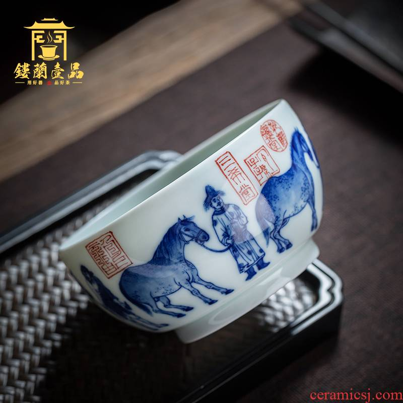 Jingdezhen ceramic all hand - made archaize rubbings five misty blue cylinder cup sample tea cup host large cups