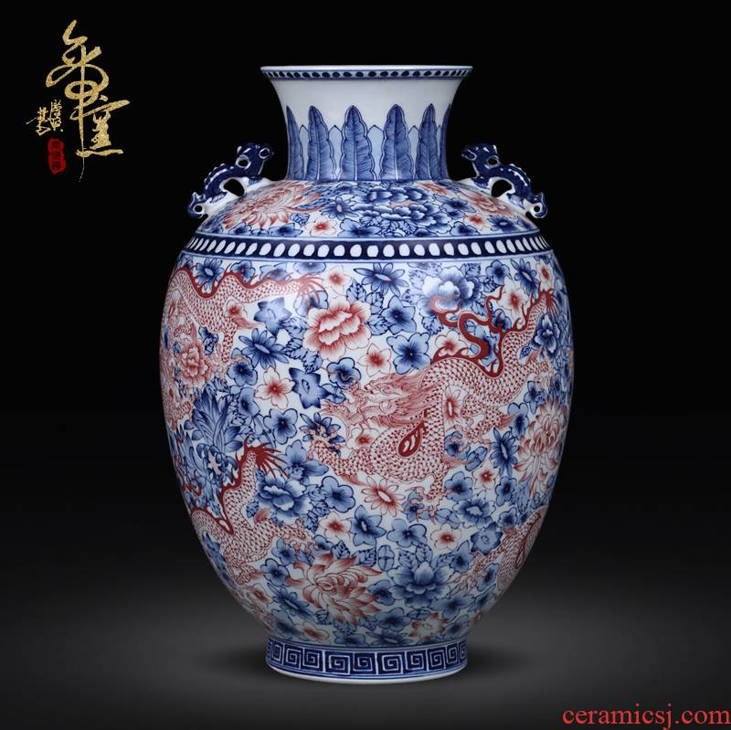 Checking antique red dragon grain ear vase of jingdezhen blue and white youligong home decorations antique antique ceramic furnishing articles