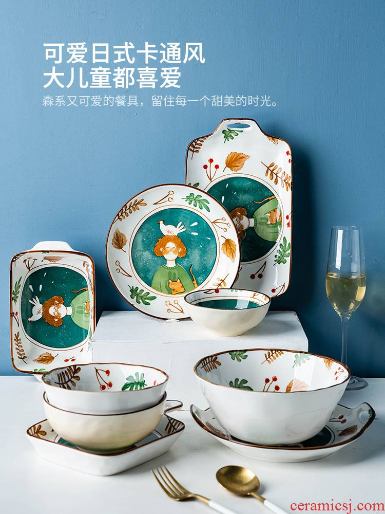 Modern Japanese cartoon hand - made housewife dishes tableware ceramic dish bowl bowl rainbow such as bowl dish dish home outfit