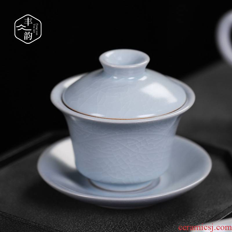 Your up tureen three only a single piece of kung fu tea cups to leave but a ceramic large ice crack glaze tea bowl of restoring ancient ways