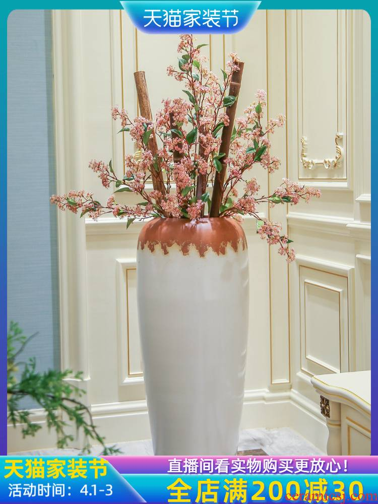 Jingdezhen ground vase large I and contracted home sitting room adornment Chinese style porch place the flower, flower arrangement