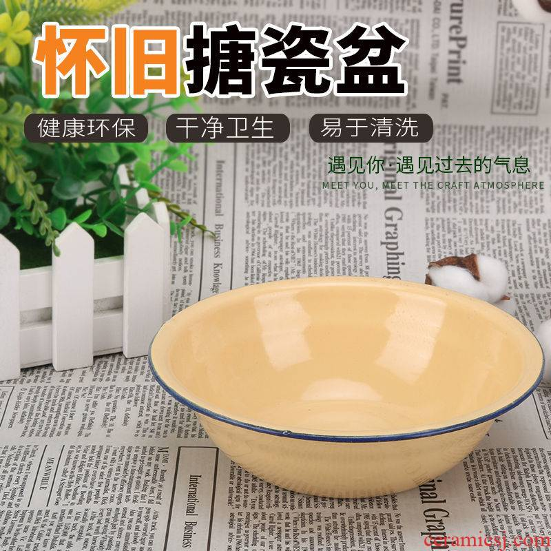 16 cm to 28 cm thickening enamel bowl edge traditional soup bowl fill dish basin nostalgic enamel basin to old rice bathtub cubicle