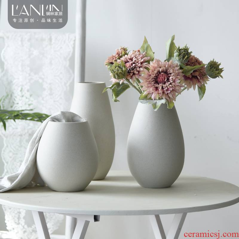 Table furnishing articles creative I and contracted pure color white vase Nordic ceramic furnishing articles dried flower arranging flowers sitting room adornment