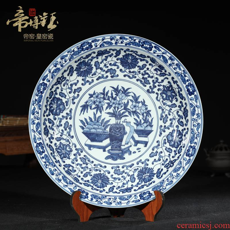 Antique hand - made porcelain of jingdezhen ceramics Antique hang dish hang dish hanging rich ancient frame of Chinese style household furnishing articles