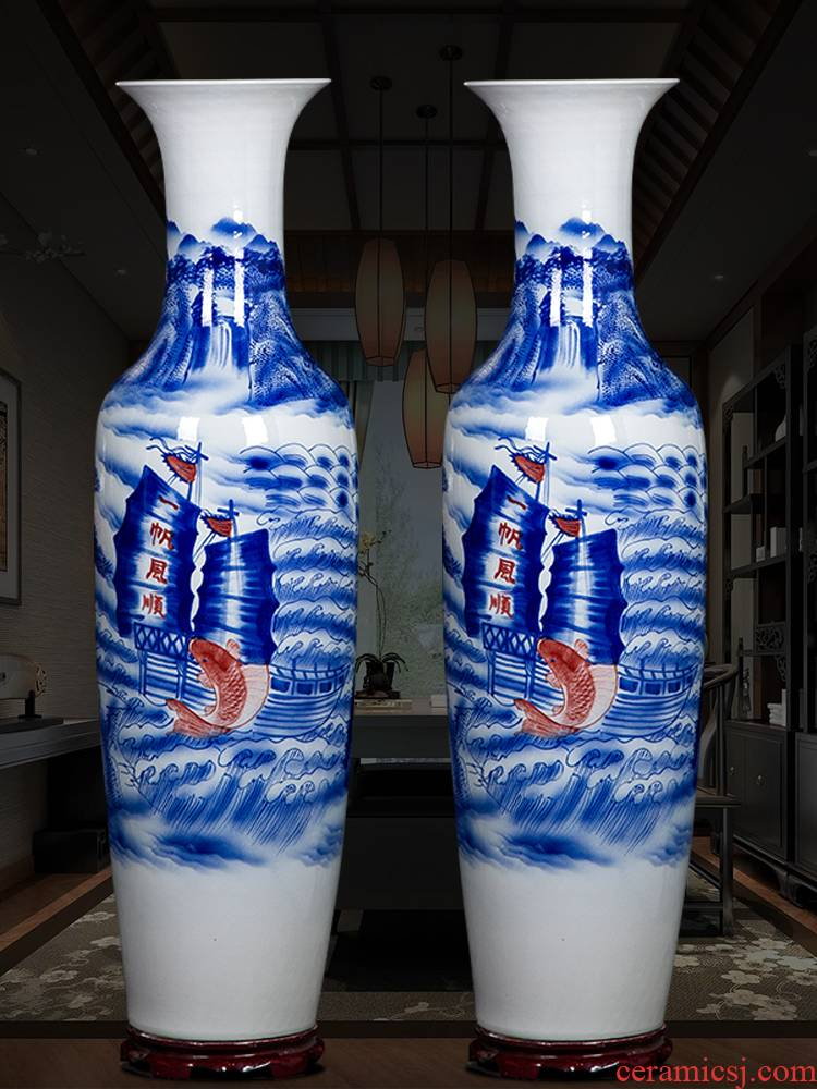 Jingdezhen ceramic vase landed large hand - made of blue and white porcelain smooth sitting room of Chinese style household decorative furnishing articles