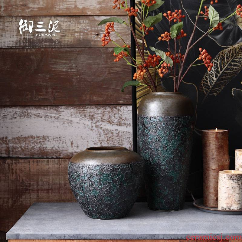 Japanese POTS dry flower decoration furnishing articles Nordic vases, I and contracted more ceramic flower arranging furnishing articles coarse pottery living room
