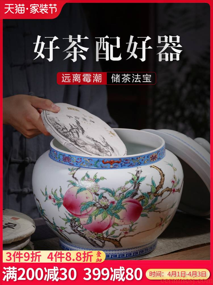 Jingdezhen porcelain famille rose tea pot seal moisture puer tea storage jar large snack jars with cover