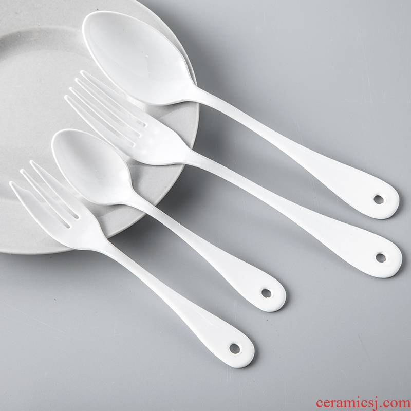The content system of Japan post staff as high mulberry white enamel metal knife and fork spoon enamel dessert spoons fork white pony