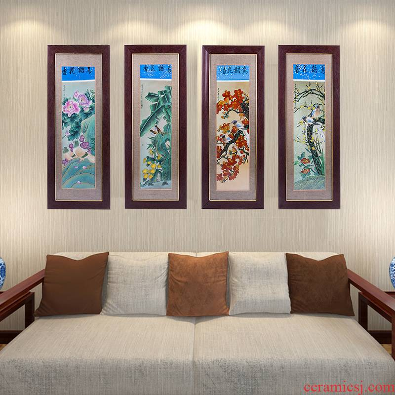 Jingdezhen ceramic hand - made porcelain plate painting peony four screen Chinese style living room sofa setting wall adornment that hang a picture
