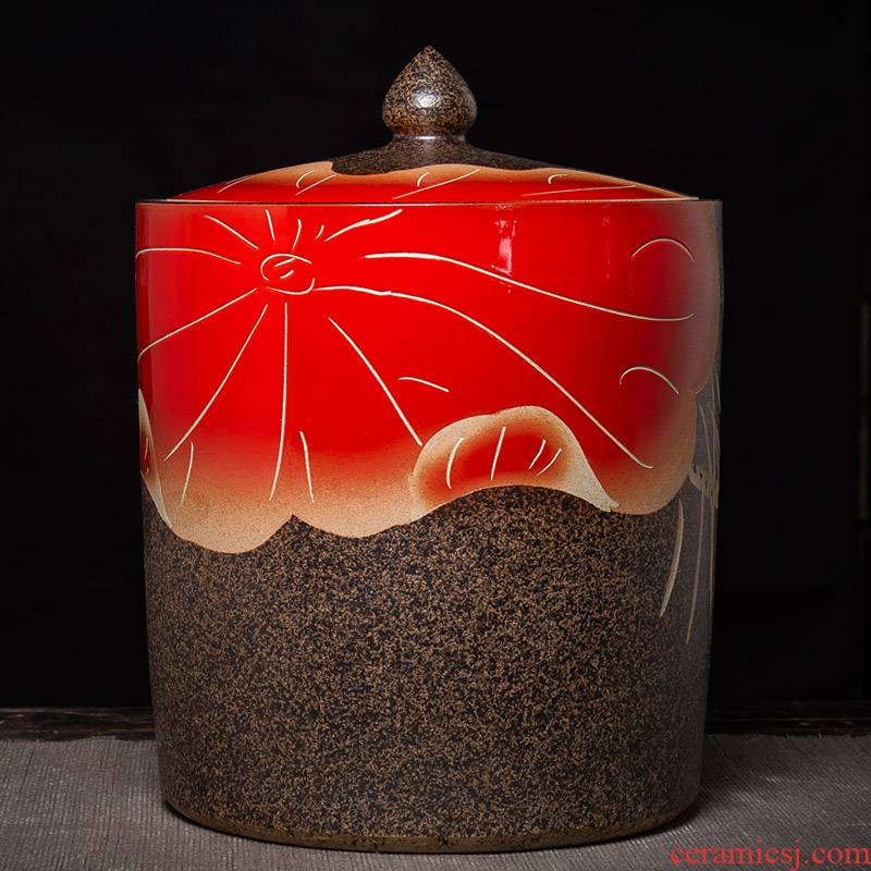 Jingdezhen ceramic red lotus coarse pottery tea pot home seal storage tank puer tea cake oversized capacity