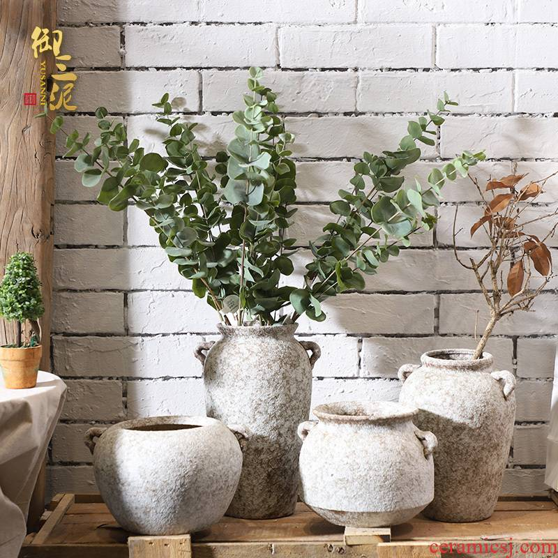 POTS dry flower ceramic vase restoring ancient ways the modern creative household contracted hydroponic flower POTS, fleshy coarse pottery furnishing articles