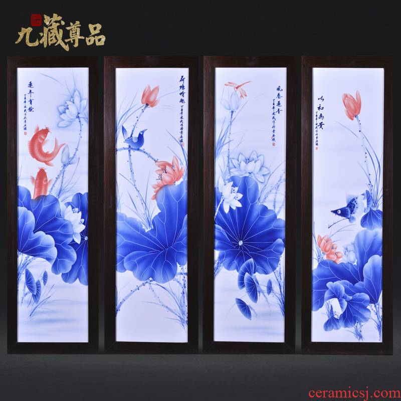 Jingdezhen ceramics Liu Shuwu hand - made lotus rhyme four screen porcelain plate painting the sitting room adornment household furnishing articles
