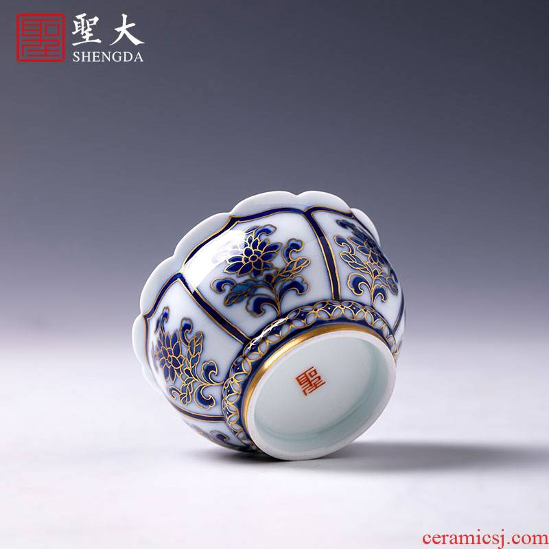 St big blue and white paint lotus flower koubei teacups hand - made ceramic kung fu masters cup sample tea cup of jingdezhen tea service