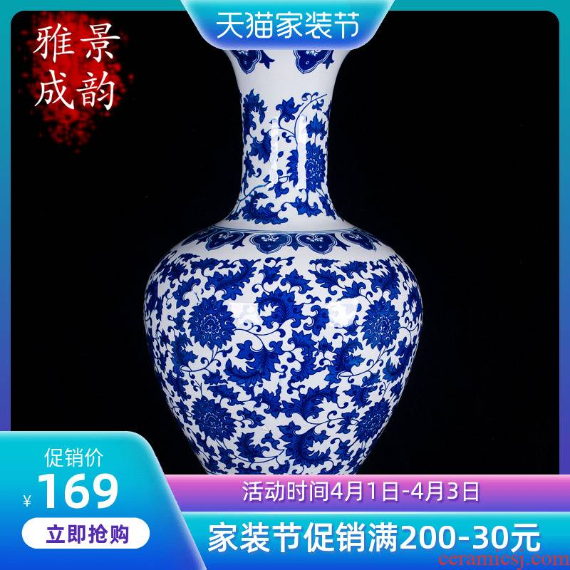 Jingdezhen ceramics place to live in the sitting room porch TV ark, blue and white porcelain vase vases, decorative arts and crafts