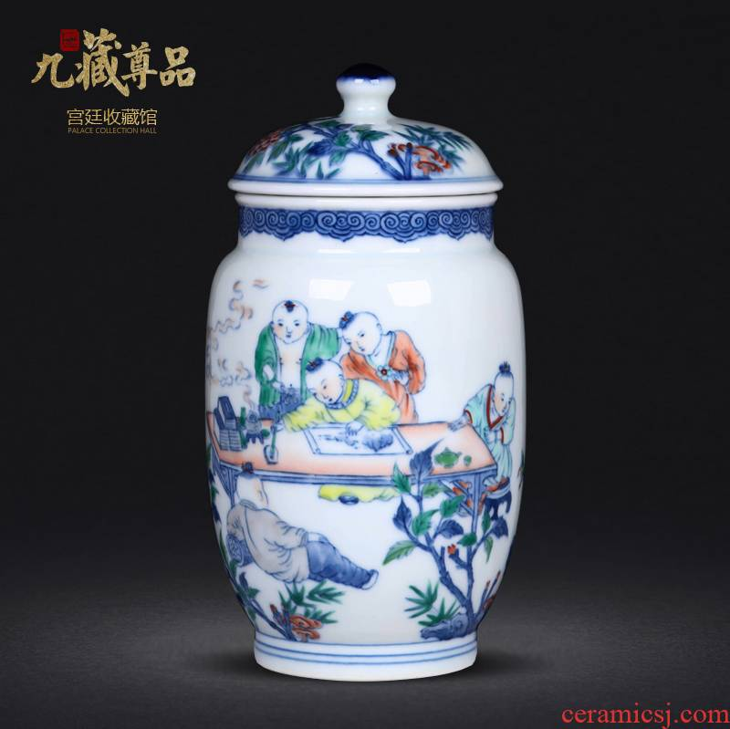 Jingdezhen ceramics hand - made porcelain dou color lad caddy fixings sitting room furniture study adornment handicraft furnishing articles