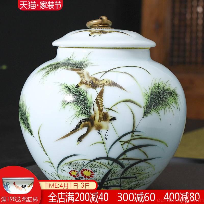 Jingdezhen ceramic tea set tea caddy fixings tea caddy fixings warehouse sealed household storage tank pu - erh tea pot receives half a catty