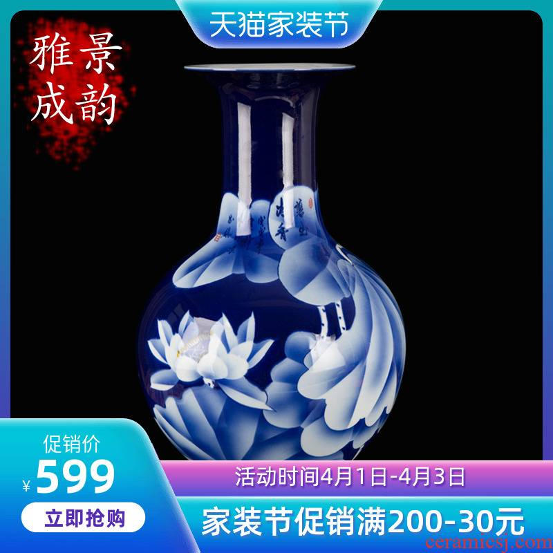 New Chinese style household jingdezhen ceramic vase decoration furnishing articles blue and white porcelain arts and crafts porcelain decoration in living room