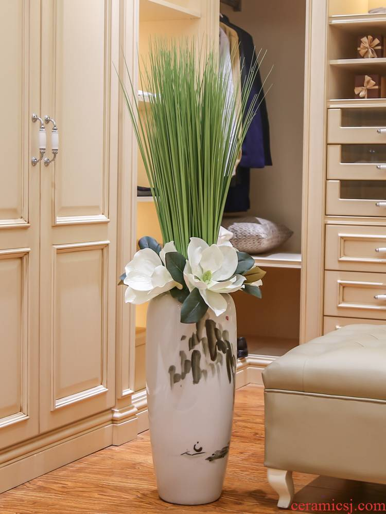 Jingdezhen ceramic floor big vase furnishing articles I and contracted household decorates sitting room new Chinese dried flowers flower arrangement