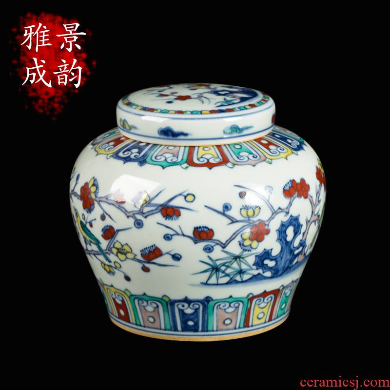 Jingdezhen ceramic checking maintain bucket color antique painting of flowers and tea pot decorative furnishing articles tea table POTS