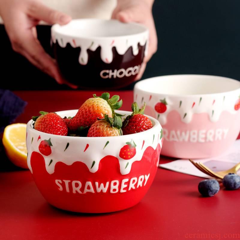 Ceramic bowl of strawberry home students creative express cartoon tableware dessert fruit salad bowl bowl of rice bowls. A single
