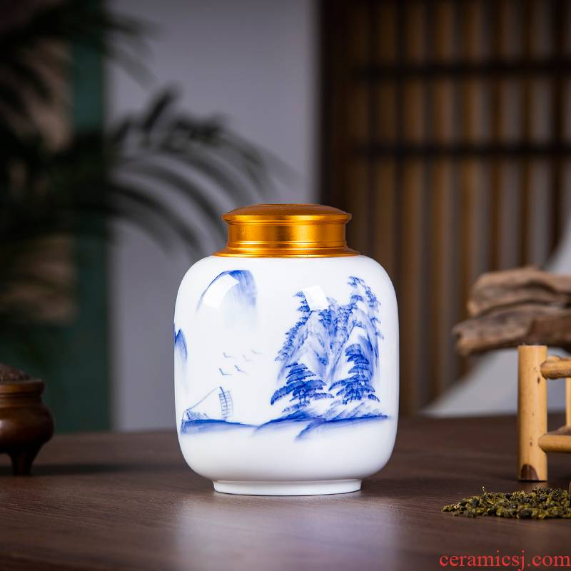 Jingdezhen ceramics pu seal tank of blue and white porcelain tea caddy fixings storehouse of Chinese style home furnishing articles household storage tank