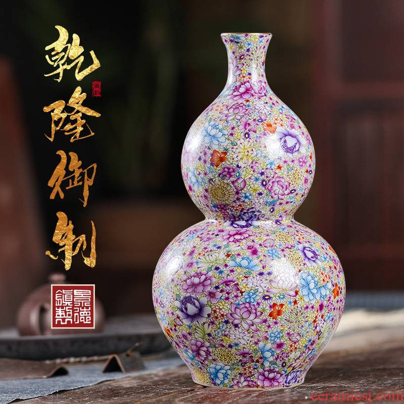 Porcelain of jingdezhen ceramics vase famille rose flower, flower arrangement sitting room adornment of Chinese style household desktop furnishing articles
