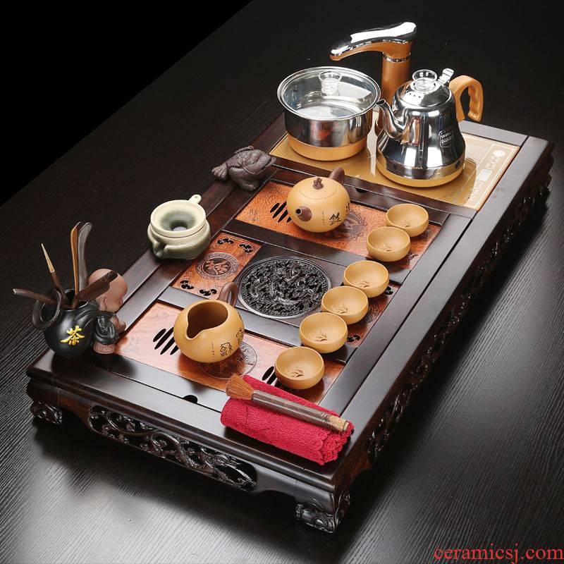 VSHOW key-2 luxury of a complete set of purple ceramic tea set natural ebony hua limu tea tray automatically sets of household