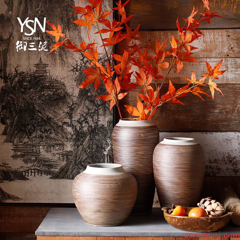 Royal mesa of three new Chinese style restoring ancient ways is contracted and I ceramic mud dry coarse some ceramic pot vase decoration furnishing articles sitting room