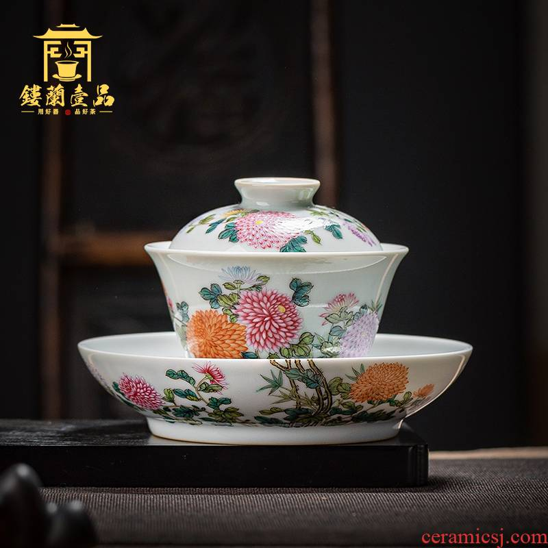 Jingdezhen ceramic hand - made pastel by only three full tureen tea cups suit household kung fu tea tea tea bowl