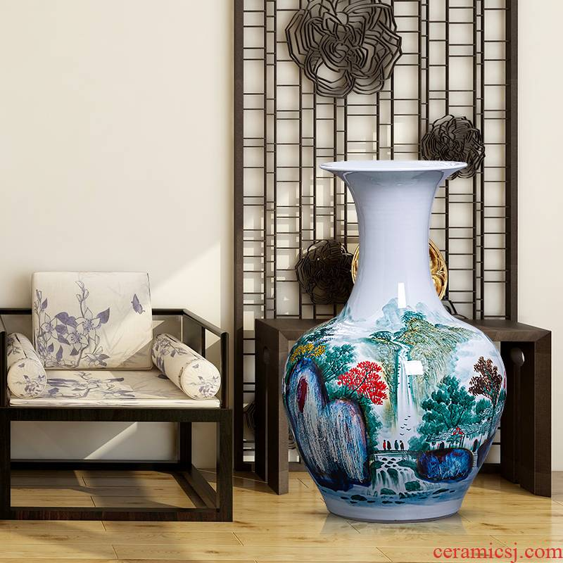 Hand - made pastel Chinese jingdezhen ceramics up ground landscape big vase furnishing articles ornaments large living room