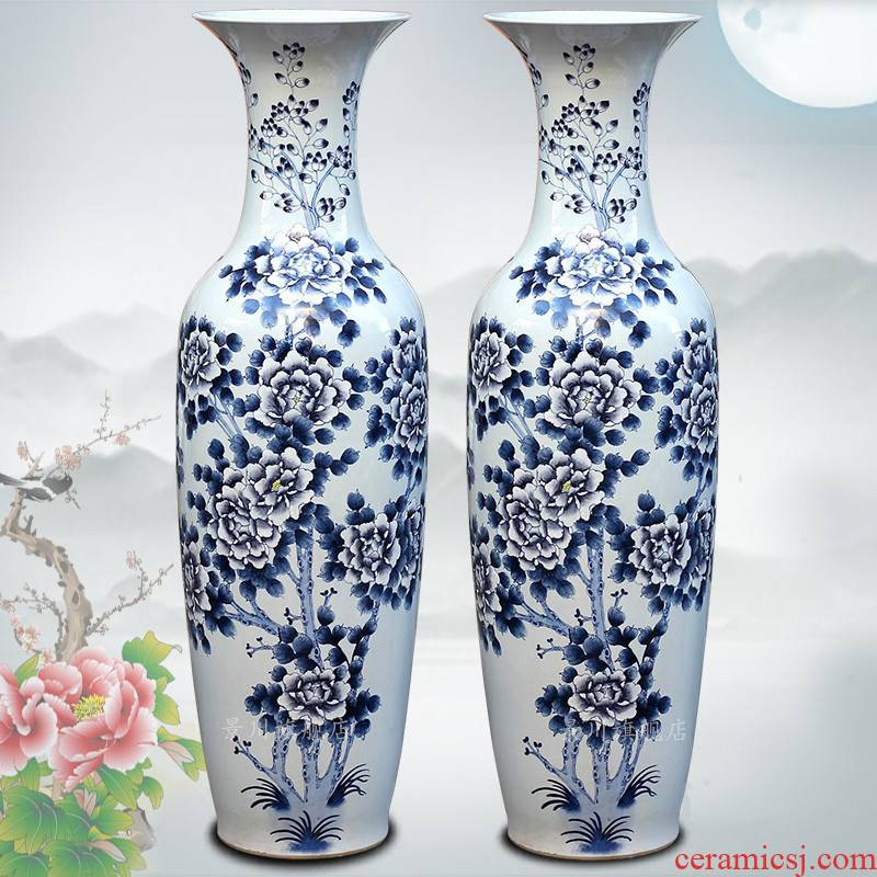 Jingdezhen ceramics of large vases, hand - made blooming flowers furnishing articles study the sitting room of Chinese style household decorations