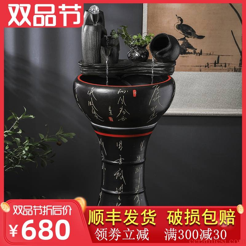 Jingdezhen ceramic built - in automatic filtering tank sitting room ground landscape large aquarium office a goldfish bowl
