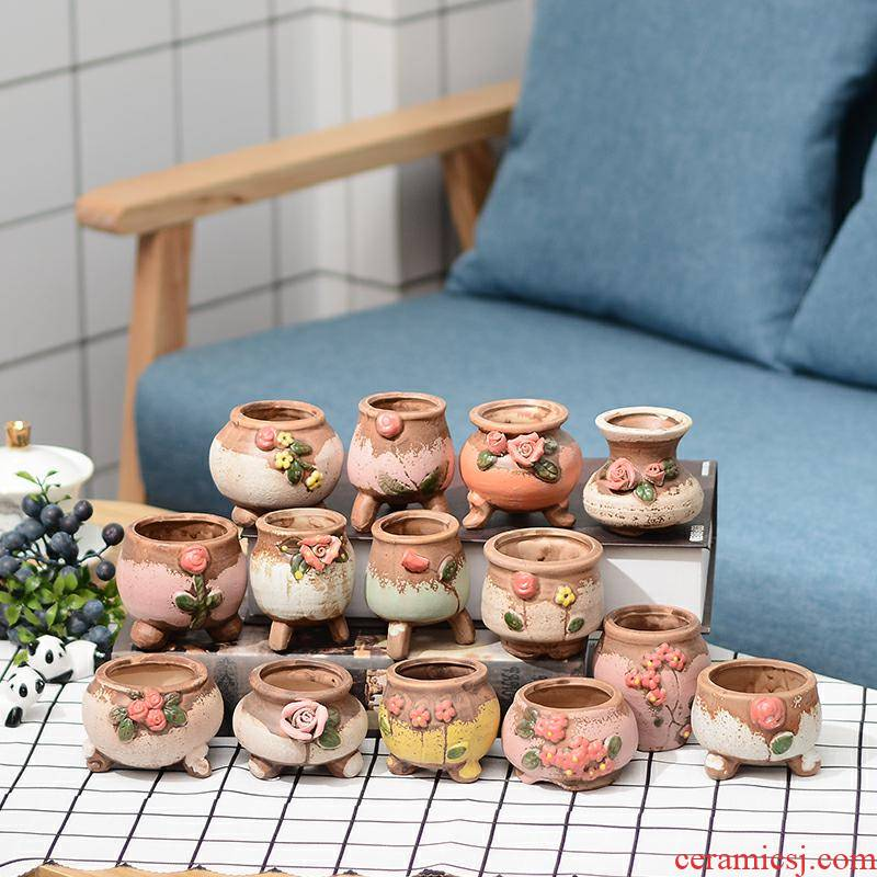 New fleshy flower pot in contracted ceramic mini control thumb shaped basin coarse pottery breathable flower implement special offer a clearance package mail