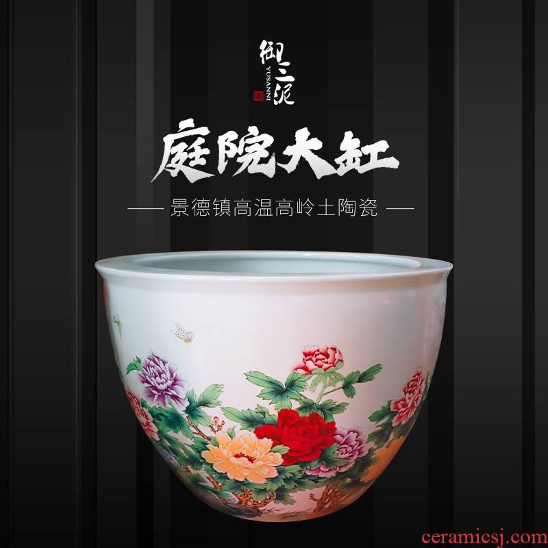 Chinese heavy jingdezhen ceramic cylinder large aquarium lotus sitting room design of ceramic cylinder cornucopia water lily powder enamel