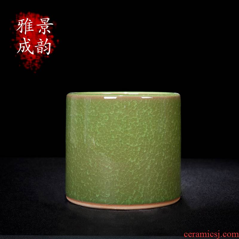 Jingdezhen ceramic borneol on glaze brush pot sitting room, the study of new Chinese style pen decoration handicraft furnishing articles