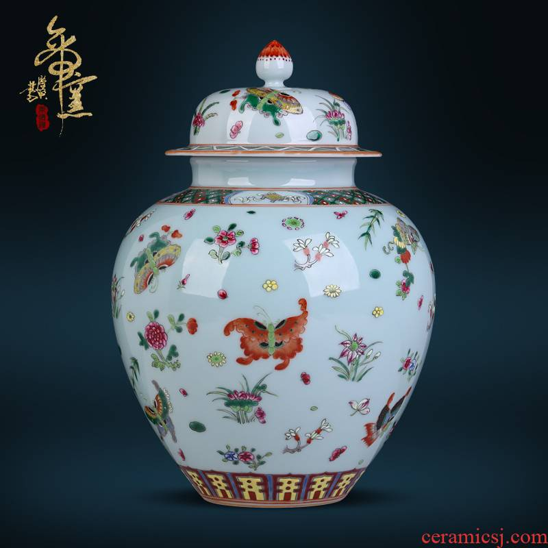 Jingdezhen ceramics archaize pea green glaze azure storage cover pot Chinese ancient frame sitting room decoration as furnishing articles