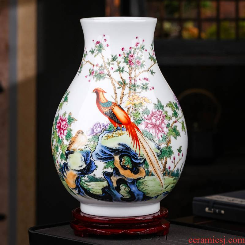 Jingdezhen ceramics powder enamel vase expressions using wide flower arrangement home TV ark, furnishing articles of Chinese style of the sitting room porch decoration