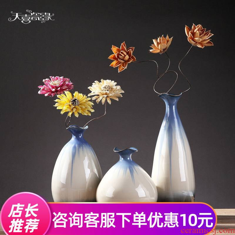 Insert creative jingdezhen ceramic vase sitting room of I and contracted household TV table wine accessories furnishing articles