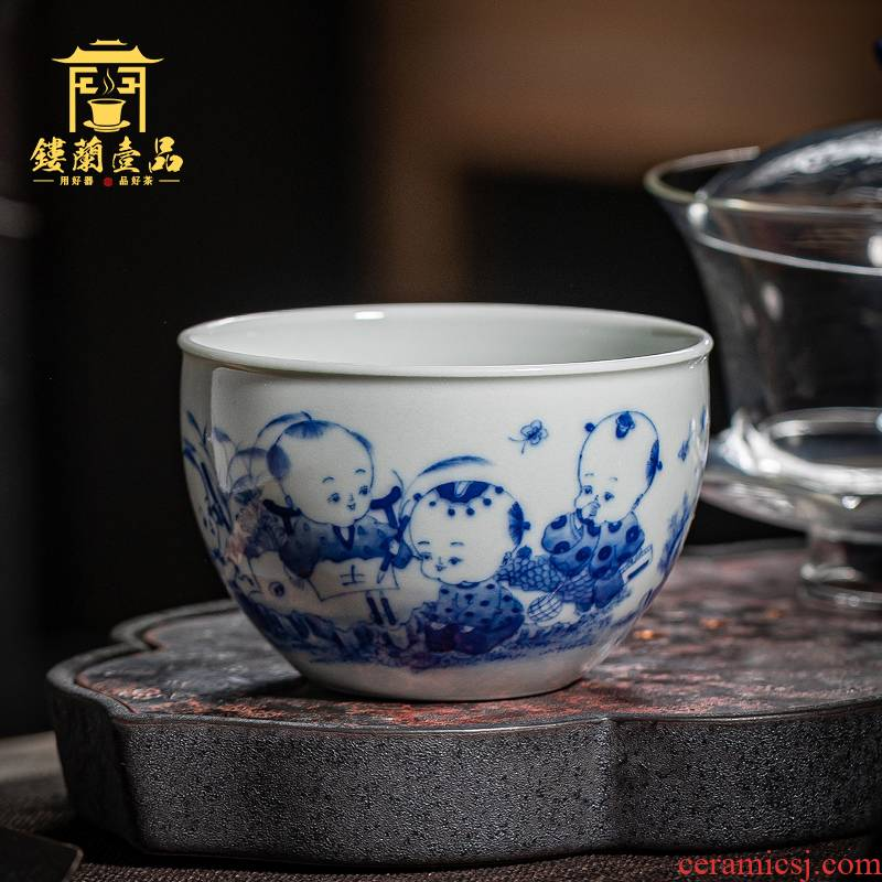 Jingdezhen ceramic all hand blue maintain infant play figure master cup home of kung fu tea tea cup single CPU